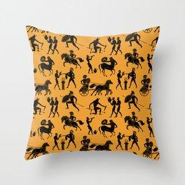 Greek Figures // Orange Throw Pillow