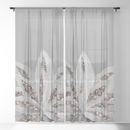 Gray Agave with Rose Gold Glitter #1 #shiny #tropical #decor #art #society6 Sheer Curtain
