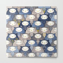 Find a cat in a parliament of owls (Art Deco Kawaii) Metal Print