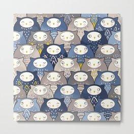 Find a cat in a parliament of owls (Art Deco Kawaii) Metal Print