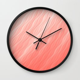 Living Coral Wavy Ombre Pattern Wall Clock