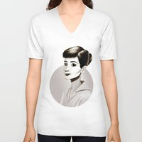 hepburn V-neck T-shirts featuring Hepburn by animatorlu