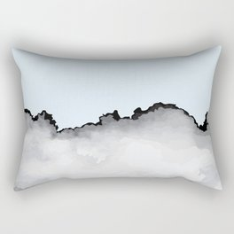 Light Blue Gray and Black Graphic Cloud Effect Rectangular Pillow