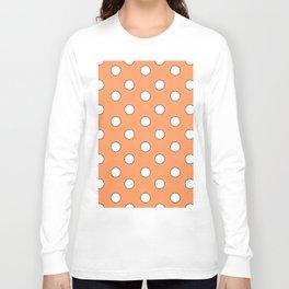 Orange Pastel Polka Dots Long Sleeve T-shirt