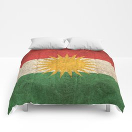 Old and Worn Distressed Vintage Flag of Kurdistan Comforters
