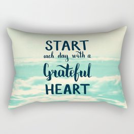 Start each day with a grateful heart Text on sea photo Rectangular Pillow