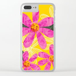 Pink Collage Flowers on bright yellow Clear iPhone Case