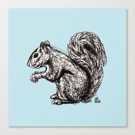 Blue Woodland Creatures - Squirrel Canvas Print