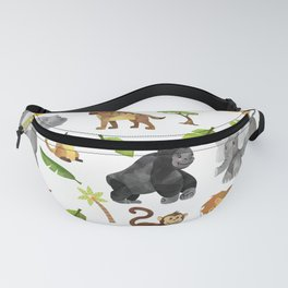 Safari Animals Pattern Watercolor Fanny Pack