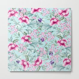 Floral Pattern Mint Metal Print