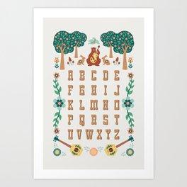 Folk Forest Alphabet Art Print