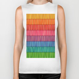 Abstract Colorful Decorative 3D Striped Pattern Biker Tank