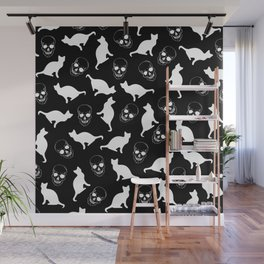 Skulls, Cats, Black and White, Pattern Wall Mural
