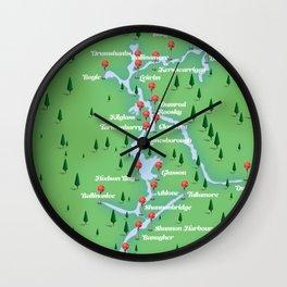 River Shannon Ireland Map Wall Clock
