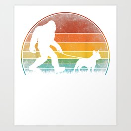 bigfoot walking french bulldog sasquatch dog lover gift  Art Print