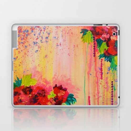 STRAWBERRY CONFETTI PAINTING Abstract Acrylic Floral Beautiful Feminine Flower Bouquet Girlie Pink Laptop & iPad Skin