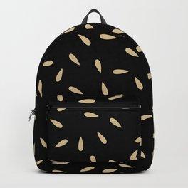 Cream Beige Drops on Black Background Backpack