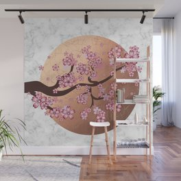 Blooming Sakura Branch on marble Wall Mural