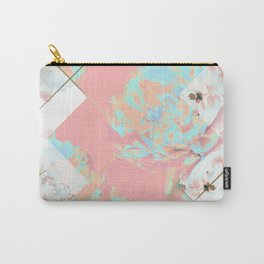 Abstract Blush Geometric Peonies Flowers Design Carry-All Pouch