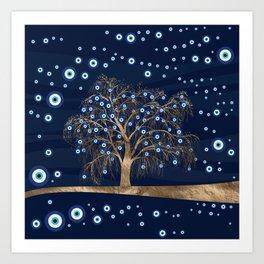 Nazar Charm Tree - Gold on Dark Blue Art Print