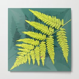 From the forest - lime green on teal Metal Print