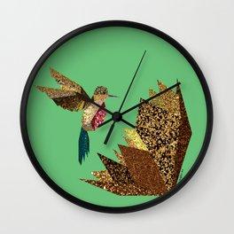 Hummingbird A with gold flower (green) Wall Clock