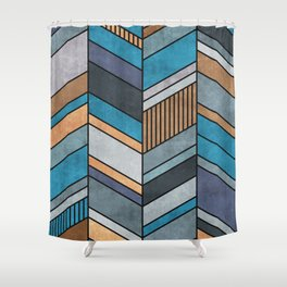 Colorful Concrete Chevron Pattern - Blue, Grey, Brown Shower Curtain