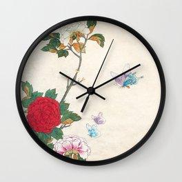 Minhwa: Peony and Butterflies Wall Clock