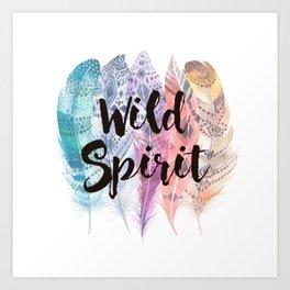 Wild Spirit & Feathers Art Print