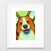 corgi Framed Art Prints featuring Corgi  by Nicole