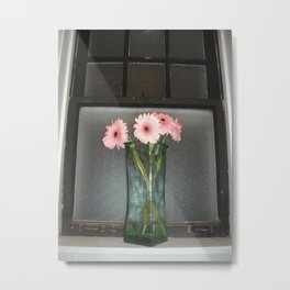 pink daisies ~ flowers on vintage sill Metal Print