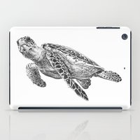 sea turtle iPad Cases featuring Sea Turtle by Laura Hines