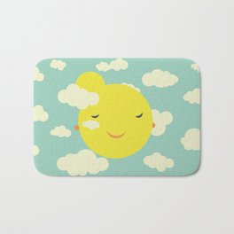 Miss Sunshine in clouds Bath Mat