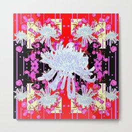 Black & Red Decorative Modern White Mums Patterns Flowers Metal Print