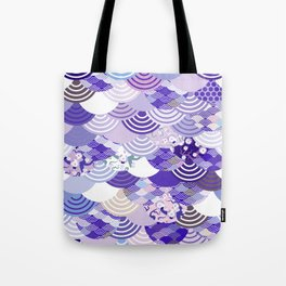 Nature background with japanese sakura flower, Cherry, wave circle. Ultra Violet Color of the Year Tote Bag