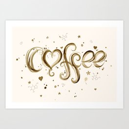 Coffee Molecules Caffeine Art Print