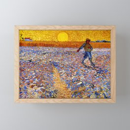 Vincent Van Gogh The Sower With Setting Sun Framed Mini Art Print
