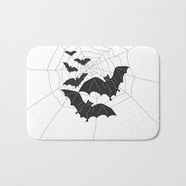 Black Bats with Spider Web Halloween Bath Mat