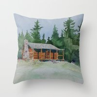 cabin pressure Throw Pillows featuring Cabin by JeffAllenArtwork