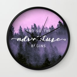 And So The Adventure Begins Pink Forest Wall Clock