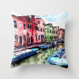 Burano, Italy Throw Pillow