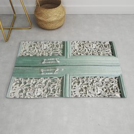 Cottage Chic Storybook Door - Turquoise and White Intricate Filigree Carved Architectural Close Up Travel Photography Rug