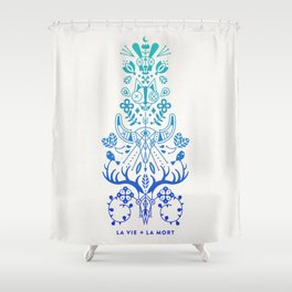 La Vie & La Mort – Blue Ombré Shower Curtain