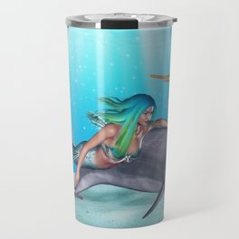 The Mermaid And The Dolphin Travel Mug