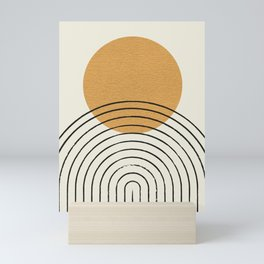 Gold Sun rainbow mid-century full Mini Art Print