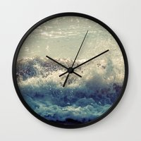 wave Wall Clocks featuring wave by Neon Wildlife