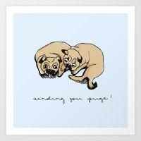 Sending You Pugs Art Print