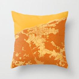 Calais - France Sunset City Map Throw Pillow