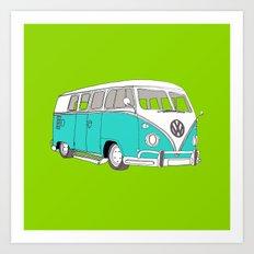 Retro Camper van // Blue and Green Art Print