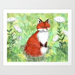 Sitting Fox Art Print